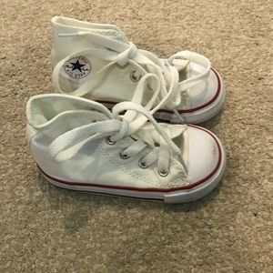 Converse white hi tops size 6